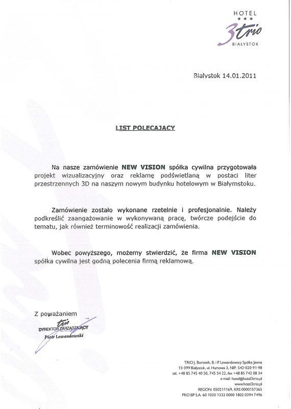 referencje hotelu 3trio z Białegostoku