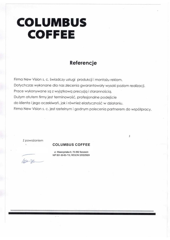 referencje od columbus coffee ze Szczecina