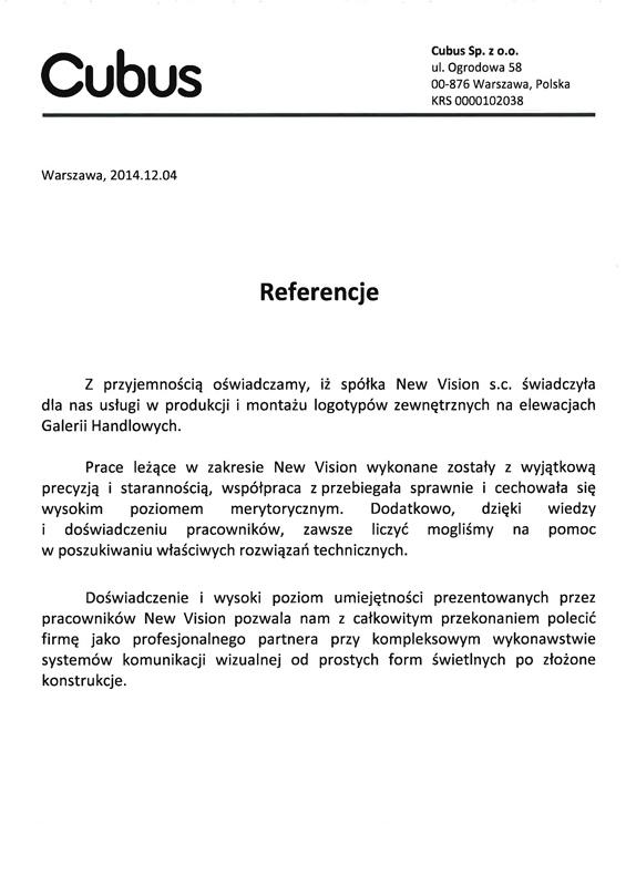 referencje od Cubus z Warszawy