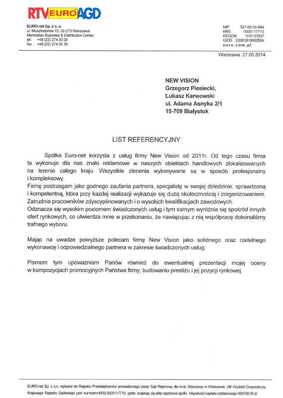 referencje od Euro RTV AGD z Białegostoku
