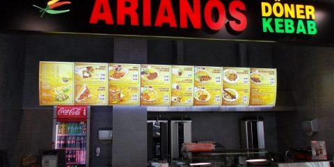 Menuboard Arianos front